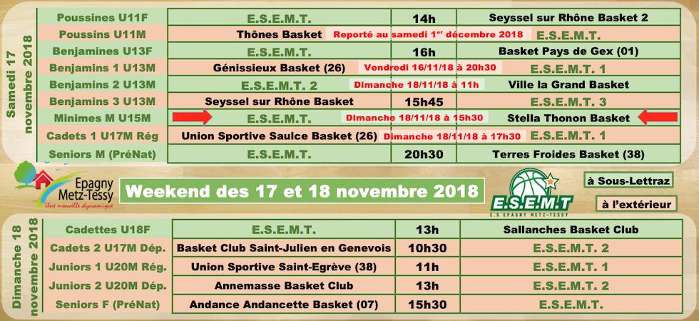 Week-end des 17 et 18 novembre 2018